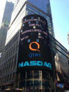 3 мая 2013 года российская платежная система Qiwi провела IPO на бирже NASDAQ в Нью-Йорке